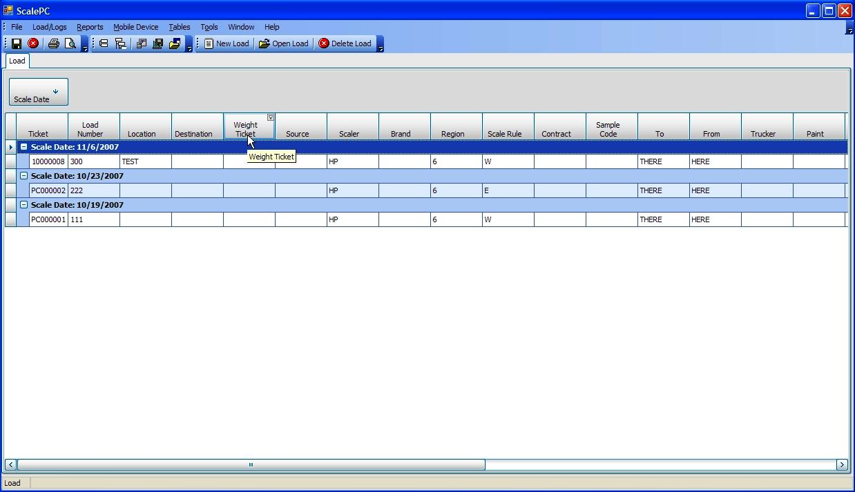 Scale PC log scale software main screen